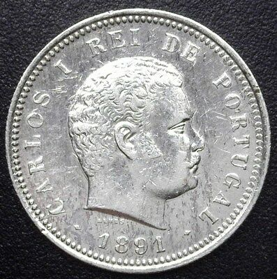 Portugal 1891 Silver 200 Reis Y#22  Choice Almost Uncirculated