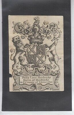 o Ex Libris Jacobean Armorial  Bookplate + Supporters: PHILIP 1st LORD HARDWICKE