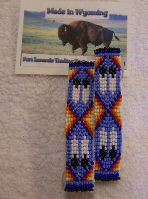 Hand Made Beaded Hair Barrette Set Rendezvous Black Powder Mountain Man 2