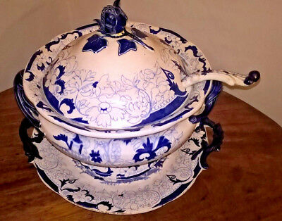 Antique Victorian Llanelly /south Wales Pottery  Large Blue & White Soup Tureen