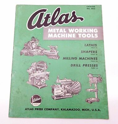 Atlas 1952 Machine Tool Catalog M52 Lathe Shaper Milling Machine & Price List