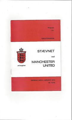 Staevnet v Manchester United Friendly 1974/75 Football Programme