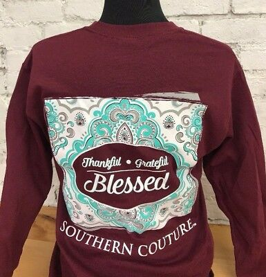 Southern Couture Classic Thankful Grateful Blessed On Long Sleeve - Maroon