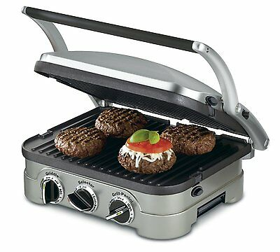 New Cuisinart CGR-4NC 5-in-1 Griddler, Panini Press, Griddle Plates (reversible)