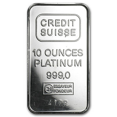 10 oz Platinum Bar - Secondary Market (.999+ Fine) - SKU #8550