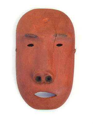 Antique Alaska Eskimo Yup'ik Native American Indian False Face Wood Carved Mask