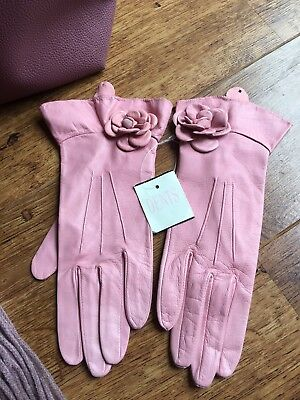 BNWT DENTS pink Leather Gloves Flower Ladies Button