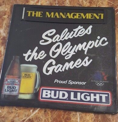 Vintage Olympics Bud Light sign 1984 The Management Salutes the Olympic Games