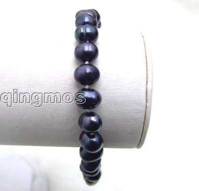 SALE 7-8mm black natural freshwater pearl bracelet-b1272 Free shipping