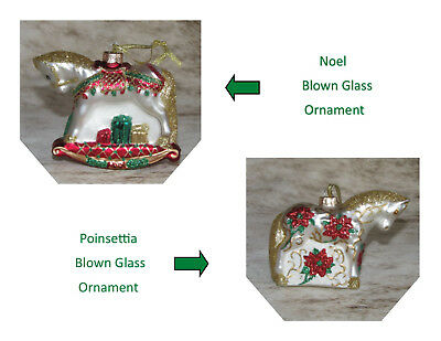 TRAIL OF PAINTED PONIES Blown Glass Ornament Set ~ 1 Noel, 1 Poinsettia~NIB