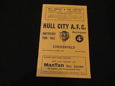 Football Programme HULL CITY v CHESTERFIELD April 1961 EX Condition FREE UK P&P