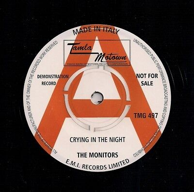 """Motown 7"""" 45 Monitors Crying In The Night / Contours Baby Hit And Run Reissue"""