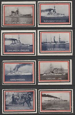 """""""German Imperial Navy"""" - 28 WWI Poster Stamps (about half are damaged)"""