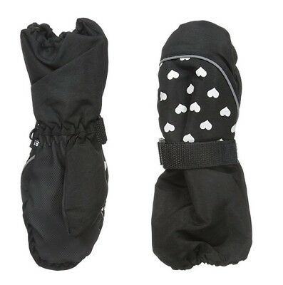 3M Thinsulate Nolan Girls Ski Mittens With Long Cuff - Black Hearts - 2T/4T
