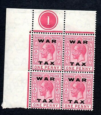 Bahamas GV 1919 1d war tax ovpt plate block, sg103,( mounted on margin only)