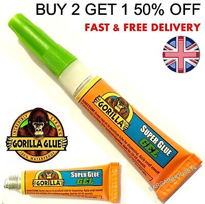Gorilla Super Glue GEL Adhesive 3g x 1 TOUGH STRONG Universal Tube All Purpose