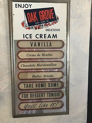 Oak Grove Dairy Ice Cream Flavor Advertising Board