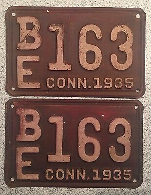 Vintage 1935 Connecticut License Plate Burgundy White BE163 Pair