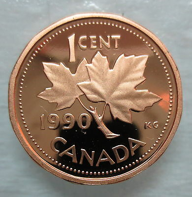 1990 Canada 1 Cent Heavy Cameo Proof Penny Coin