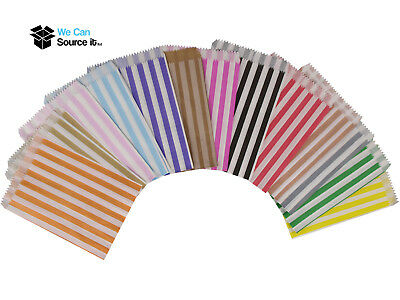 """Paper Candy Bags Striped Sweets Favours Wedding Carts Childrens Party 5x7"""""""