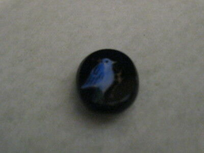 Antique Black Glass Button with Painted Blue Bird