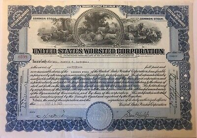 1923 United States Worsted Corporation Stock Certificate Amazing Vignette!