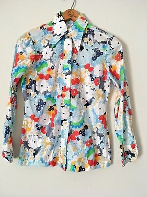 Vintage 1970s 70s Long Sleeve Shirt Size 12 Sears FLOWER POWER
