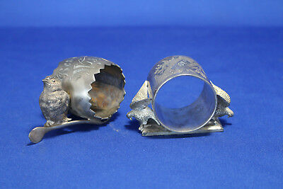 Two Silver Plated Meridian Figural Napkin Rings