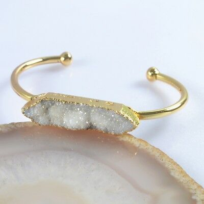 Natural Agate Druzy Titanium AB Bangle Gold Plated T047145