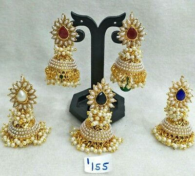 Bollywood Indian Fashion Jewelry Earring Wedding Women White and Red available