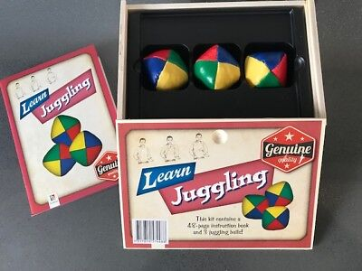 New  Learn Juggling Set with  instruction Book in Wooden Box / Hinkler