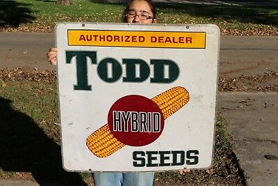 "Large Vintage 1960's Todd Hybrid Seed Corn Farm 2 Sided 30"" Metal Sign"