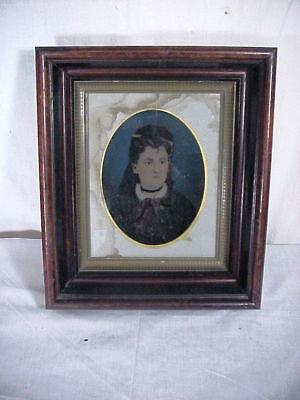 FULL PLATE TINTYPE PHOTO of Young Lady by J.H. COBB NY in Victorian Walnut Frame