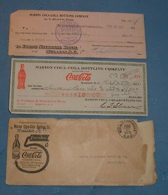 Early Coca Cola Envelope and 2 Checks - 1916,1913,1931