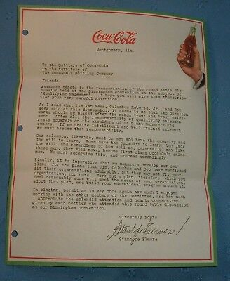 Early Coca Cola Letter on Coke Leterhead - Excellent - Montgomery Alabama