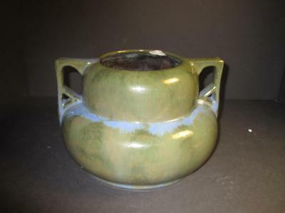 Signed Fulper Green Pottery Vase 2 Handles - L@@k!!!