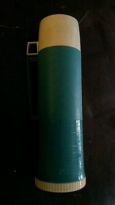 Blue & Beige Thermos Vacuum Bottle Vintage