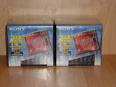 Sony Color Collection MiniDisc 74 * Lot of 20 discs + 2x Storage Case * SEALED