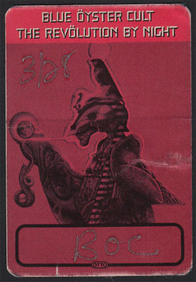 Blue Oyster Cult ORIG 3/28/1983 Revolution By Night Tour Backstage Crew Pass 2