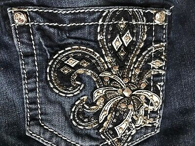 Miss Me Designer Gorgeous Women's Dark Blue Skinny Jeans Crystal Accents 28