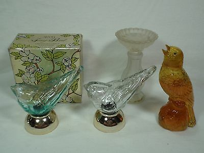 Lot of 4 Vintage Avon Song Bird Themed Decanters