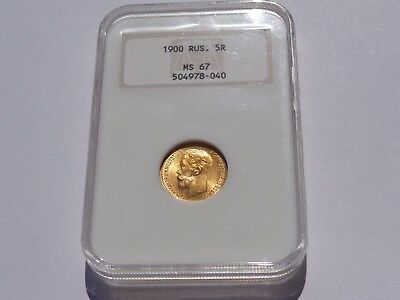 1900 O3 Russia 5 Roubles Gold Ngc Ms-67!! Better Date! Super Nice! Must See!!
