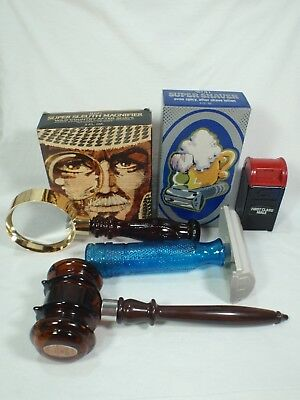 Lot of 4 Vintage Avon Magnifier, Shaver, Gavel, & Mail Box Decanters