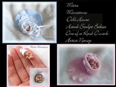 OOAK Original Artist 1:12 Scale Miniature Baby Doll Hand Sculpted *CUSTOM MADE