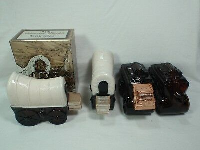 Lot of 4 Vintage Avon Covered Wagon and Stage Coach Decanters