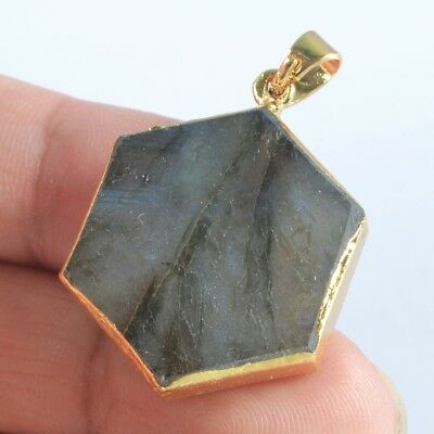 Hexagon Natural Labradorite Pendant Bead Gold Plated T046913