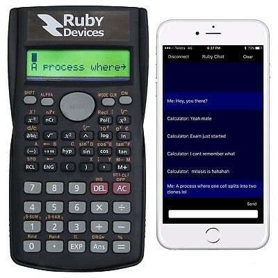 Text Messaging Calculator. Cheat Exams. Smartphone Compatible. Ruby Devices