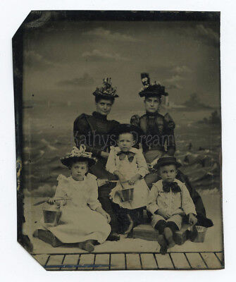 Very Clear Tintype of Family Children Seaside Background Sand Pails & Shovels
