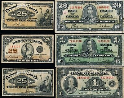 17 Old Canada Notes(1,2,20,25) See Images> Interesting Lot> No Reserve