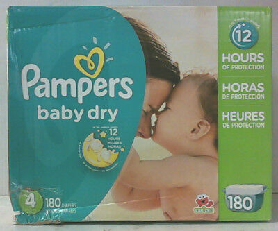 NEW Pampers Baby Dry Diapers Size 4 Economy Pack Plus 180-Count $51